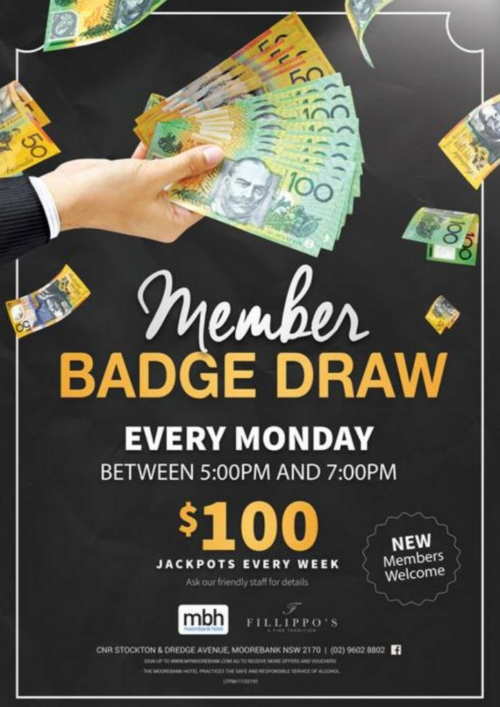 The Moorebank Hotel Badge Draw